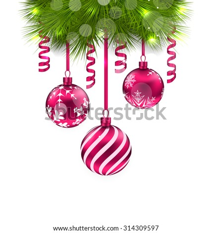 Illustration Christmas Fir Branches and Glass Balls - Vector