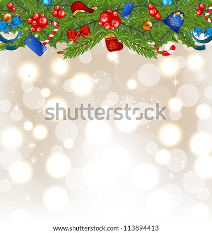 Illustration Christmas glowing background with holiday decoration - vector