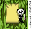 illustration curious panda on stem of the bamboo - stock photo