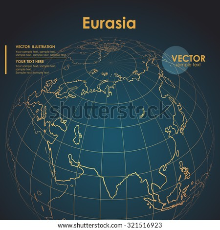 Illustration Earth map of Eurasia. Modern business line vector background