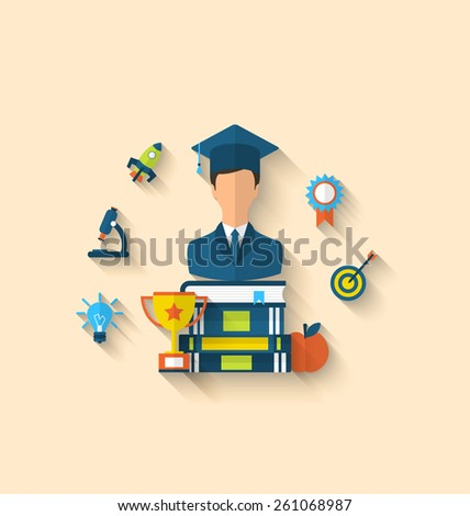 Illustration Flat Icons Of Magister And Objects For High School College Education