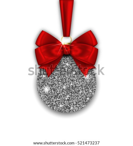 Illustration Glitter Christmas Ball and Red Bow Ribbon with Silver Surface on White Background - Vector