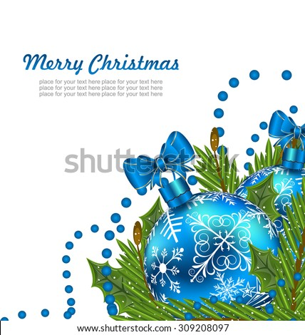 Illustration Greeting Postcard with Christmas Balls and Adornment - Vector