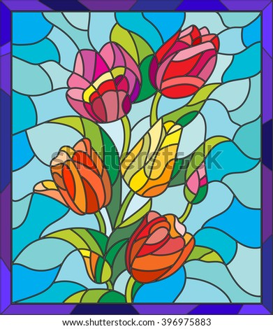 Illustration in stained glass style with tulips, buds and leaves on a blue background