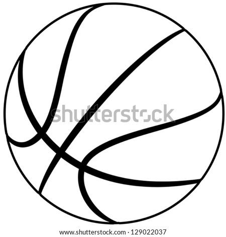 illustration basketball outline isolated white background stock