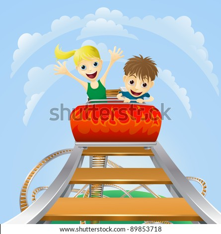 Illustration of a boy and girl enjoying a thrilling roller coaster ride