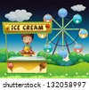 Illustration of a boy with an icecream stall near the ferris wheel - stock vector