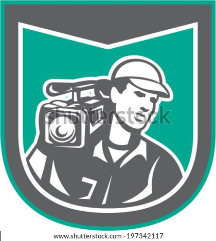 Illustration of a cameraman film crew holding carrying hd video movie camera on shoulder set inside shield crest done in retro style on isolated backgrounbd.