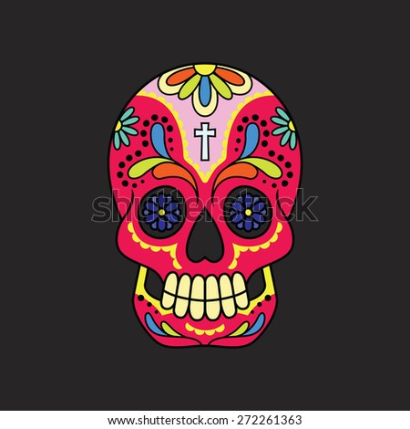 Illustration of a colorful calavera (mexican sugar skull) against a black backdrop. Eps 8 Vector.