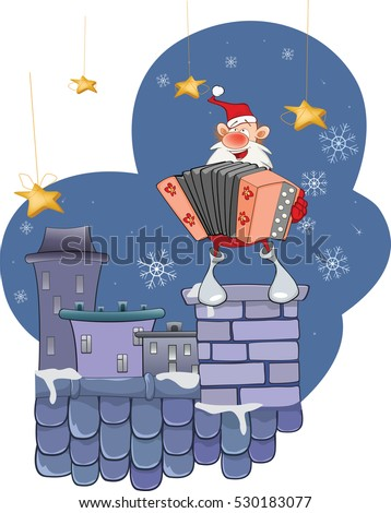 Illustration of a Cute Santa Claus a Accordion Player on a Roof