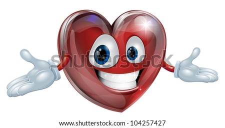 Illustration of a cute smiling heart cartoon man character