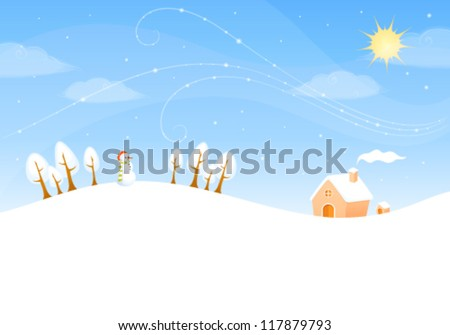 illustration of a cute winter landscape with sunny sky, snowman and small cottage
