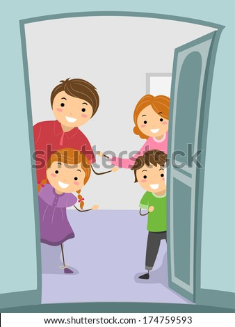 Illustration Of A Family Giving Their Visitors A Warm