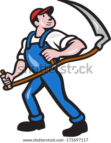 Illustration of a farmer farm worker holding scythe facing front on isolated white background done in cartoon style