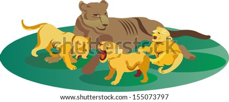 Illustration of a female lion taking care of her three cubs