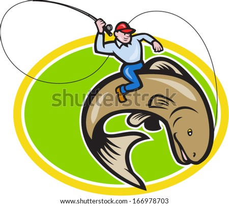 Illustration of a fly fisherman holding rod and reel riding trout fish set inside oval shape done in cartoon style on isolated background.