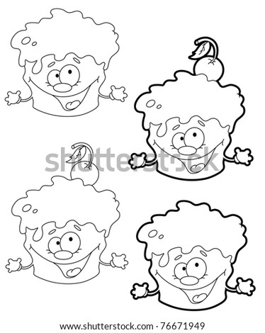 illustration of a funny cake outlined