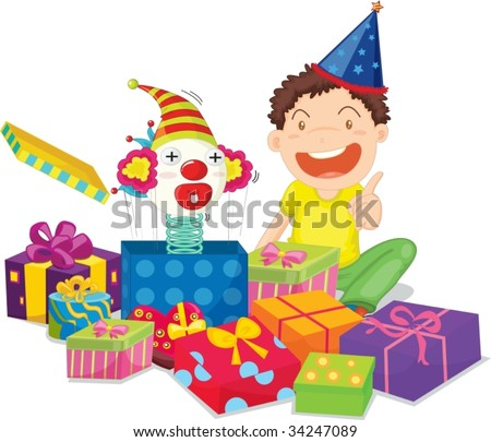 Illustration of  a gift boxes on white