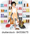 Illustration of a Girl Fitting Shoes in her Shoe Closet or a Shoe store - stock vector