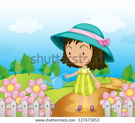 Illustration of a girl watering the flowers