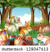 Illustration of a group of bunnies and easter eggs on a white background - stock
