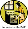 Illustration of a housewife woman baker wearing apron baking in stove oven with window done in retro style. - stock vector
