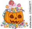 Illustration of a Jack-o'-Lantern Filled with Candies Gathered from Trick or Treating - stock vector