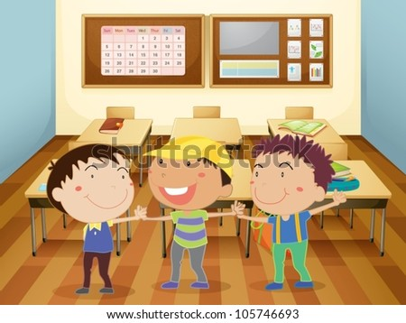 illustration of a kids holding hands in classroom