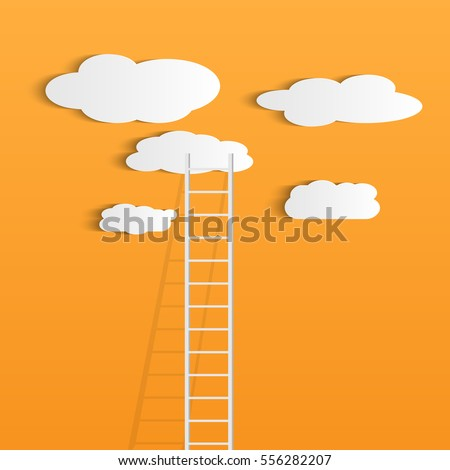 Illustration of a ladder reaching up to the clouds against a colorful orange background.