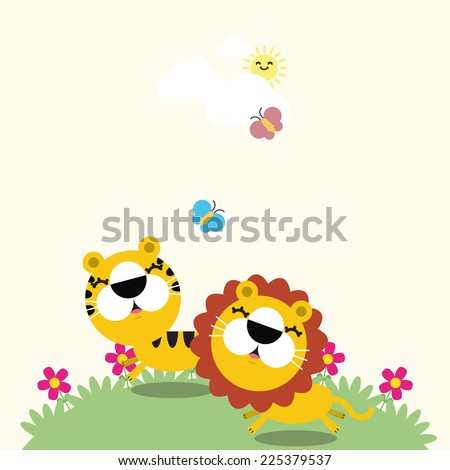 Illustration of a lion, tiger and the butterflies. Vector illustration of cute animals with place for text