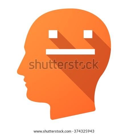 Illustration of a long shadow male head icon with a emotionless text face