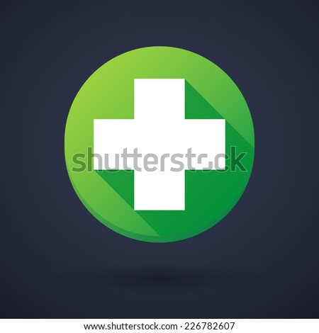 Illustration of a long shadow round icon with a pharmacy sign
