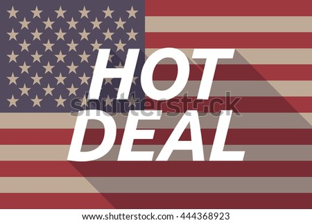 Illustration of a long shadow USA flag with    the text HOT DEAL