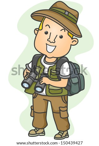 Illustration Of A Man Dressed In Camping Gear Holding Pair Binoculars