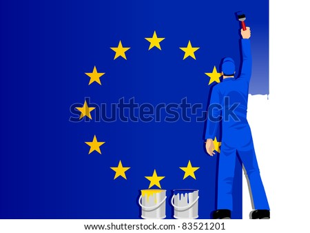 Illustration of a man figure painting the flag of European Union