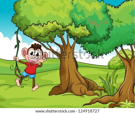 Illustration of a monkey on a tree