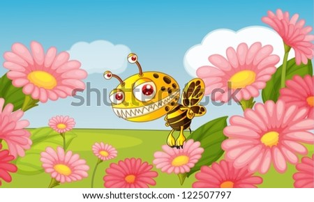 Illustration of a monster bee in a beautiful nature