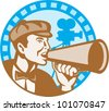 Illustration of a movie director shouting using bullhorn with vintage film video camera set inside circle with film reel done in retro style. - stock photo