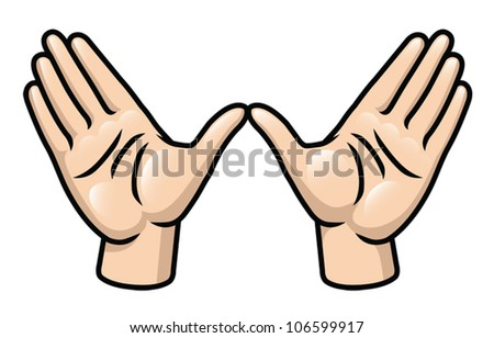 Illustration of a pair of cartoon hands making a quot w quot or wing shape