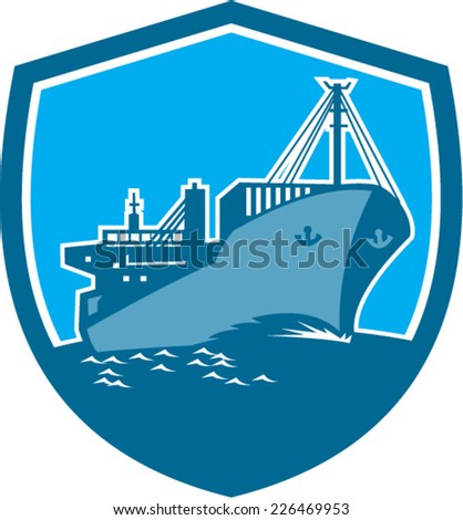 Illustration of a passenger cargo container ship on sea set inside shield crest on isolated background done in retro style.