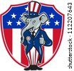 Illustration of a republican elephant mascot of the republican wearing hat and suit thumbs up set inside American stars and stripes flag shield done in cartoon style. - stock photo