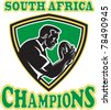 illustration of a rugby player with ball set inside shield done in retro style with words South Africa Champions - stock vector