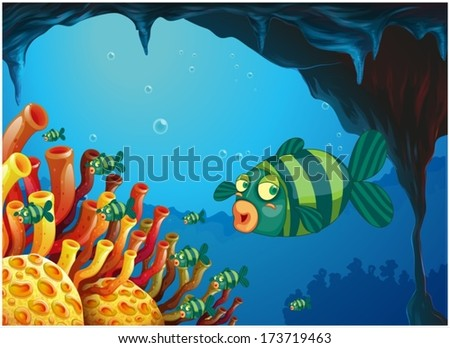 Illustration Under Sea Background Vector 226218835