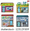 Illustration of a set of shops - stock vector