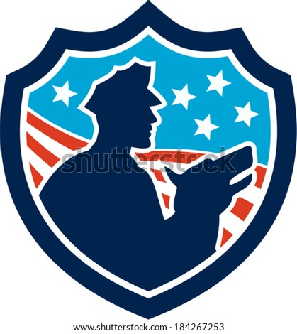 Illustration of a silhouette of a policeman security guard with police dog with American stars and stripes set inside shield done in retro style.
