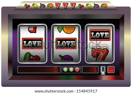 Illustration of a slot machine with three reels, slot machine symbols and the lettering LOVE. Isolated vector on white background.
