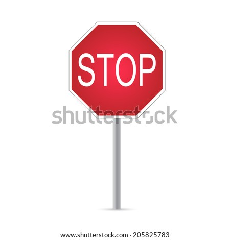 Illustration of a stop sign isolated on a white background.