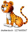 Illustration of a tiger on a white background - stock vector