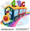 Illustration of a Train on a Rainbow loaded with ABC - stock photo
