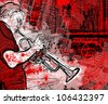Illustration of a trumpeter on a grunge cityscape background - stock photo